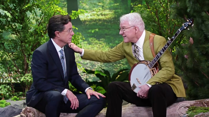 Watch Colbert, Steve Martin Duet on Forest Friendship Song