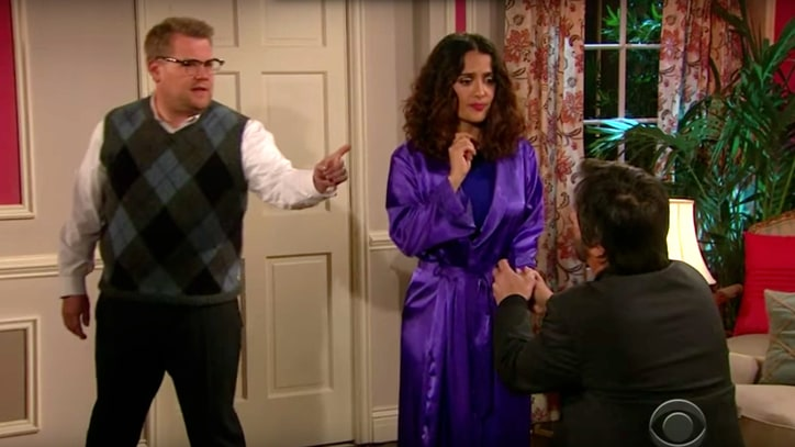Watch Corden Stage Bieber Lyric Soap Opera With Salma Hayek
