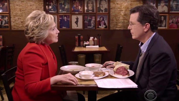 Watch Stephen Colbert Dine With Hillary Clinton, Dash on Check