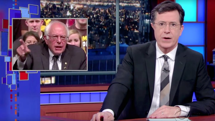 Watch Colbert Use Bernie's Pointing Prowess for 'Bubble Burst' Game