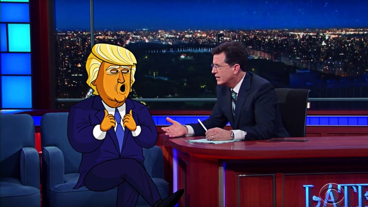 Watch Cartoon Donald Trump Admit Campaign 'Charade' on 'Colbert'