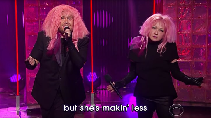 See Cyndi Lauper, James Corden Sing 'Girls Just Want Equal Funds'