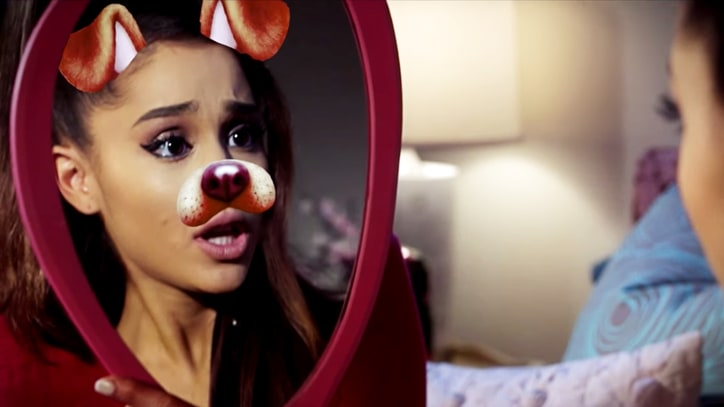 Watch Ariana Grande's Wacky Snapchat Horror Film 'Dog Face Filter'