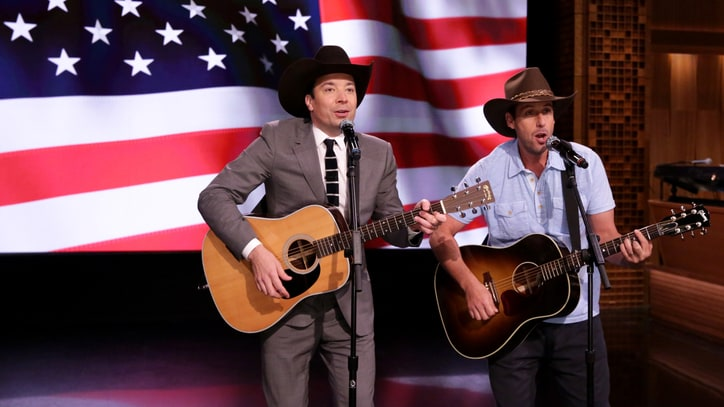 Watch Adam Sandler, Jimmy Fallon Honor Troops With Garth Brooks Parody