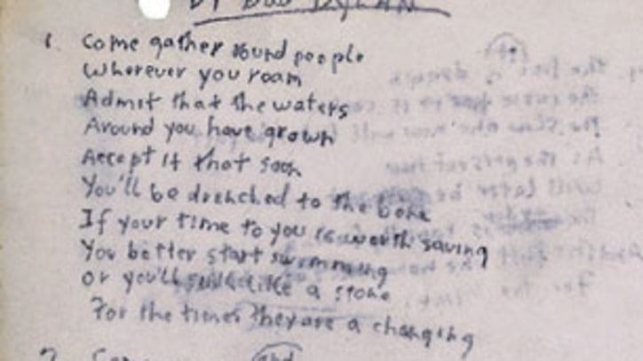 Bob Dylan's Handwritten 'Times They Are a-Changin'' Lyrics Sell for $422,500