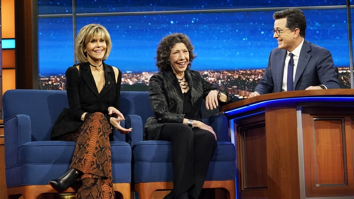 Watch Jane Fonda, Lily Tomlin Talk Trump-Themed Diapers on 'Colbert'