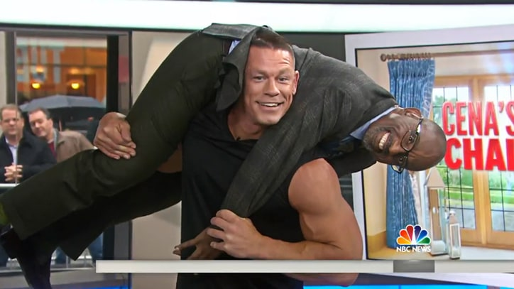 Watch John Cena Easily Squat Al Roker on 'Today' Show