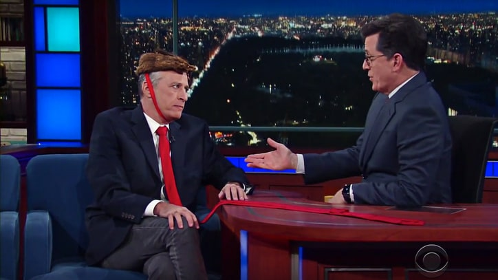 See Jon Stewart Warn of Future Trump Executive Orders on 'Colbert'