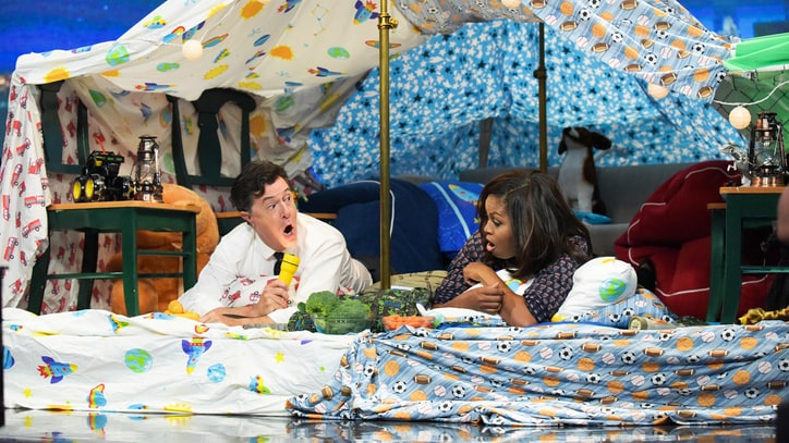 See Michelle Obama, Stephen Colbert Make Blanket Fort, Talk Beyonce