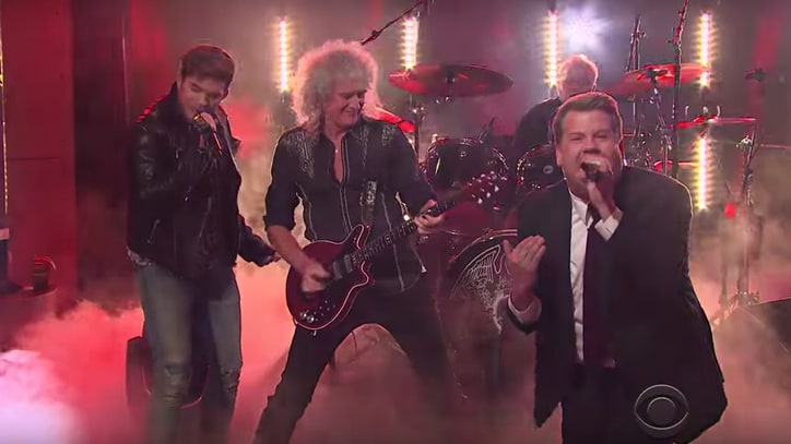 Watch Adam Lambert Challenge James Corden to Queen Sing-Off