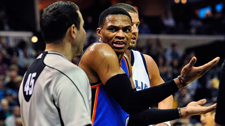 Watch Russell Westbrook Hit Referee in Head With Basketball