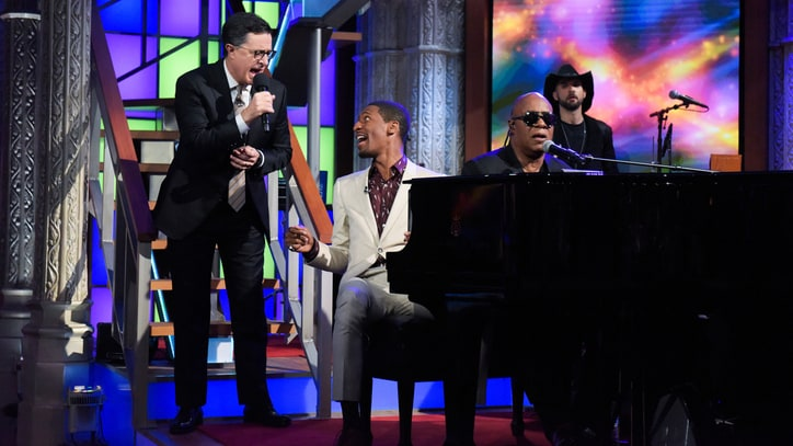 Watch Stevie Wonder Ease Election Tensions on 'Colbert'