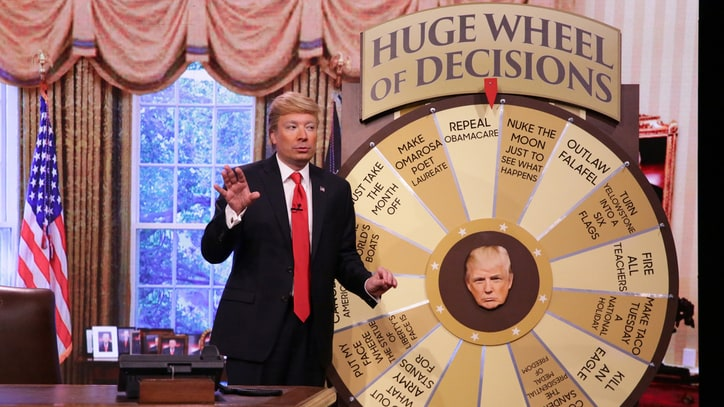 See Jimmy Fallon Spoof Donald Trump, Spin 'Huge Wheel of Decisions'