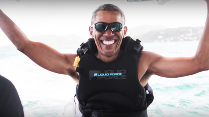 Your Moment of Zen: Richard Branson and Barack Obama Kitesurfing