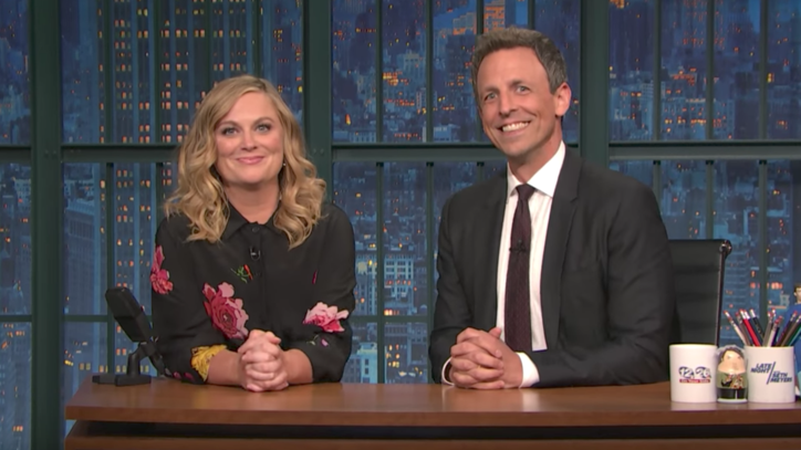 See Amy Poehler, Seth Meyers Take on Pro-Trump Activists on 'Late Night'