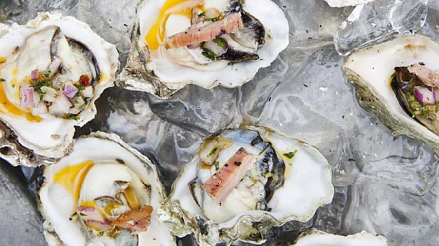Grilled Oysters With Prosciutto Mignonette.