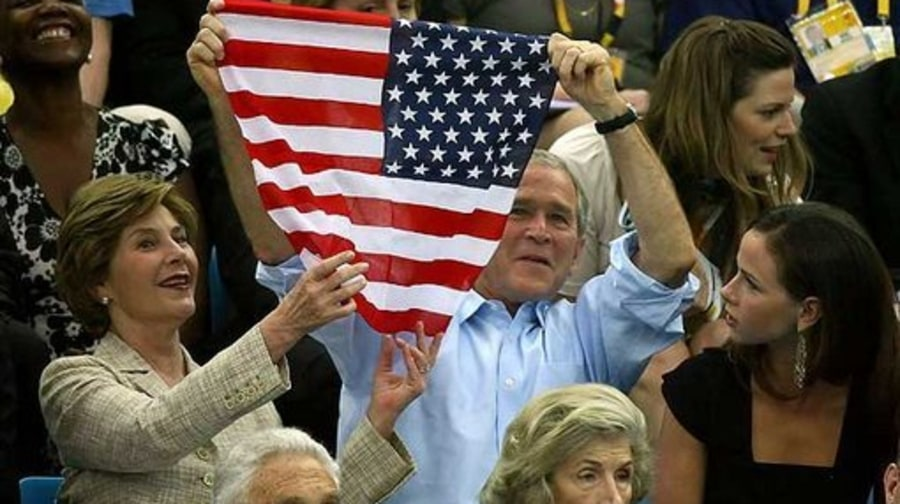 BUSH MOMENTS: August 10th, 2008: Bush Holding American Flag