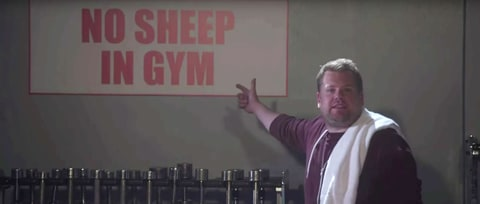Watch James Corden in Kanye West's 'Fade' as Cranky Gym Member