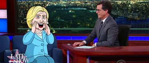 Watch Stephen Colbert Chat With 'Cartoon Hillary' on 'Late Show'