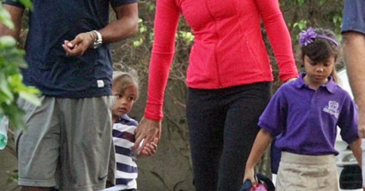 lindsey vonn  tiger woods take his kids to school
