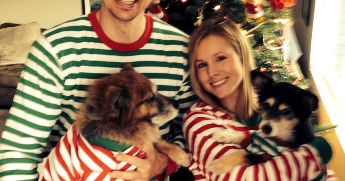 kristen bell dax shepard wear matching christmas pajamas
