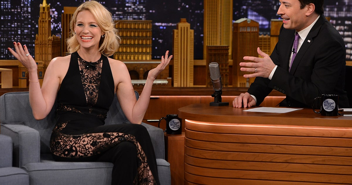 January Jones Goes Without Underwear In Jumpsuit On