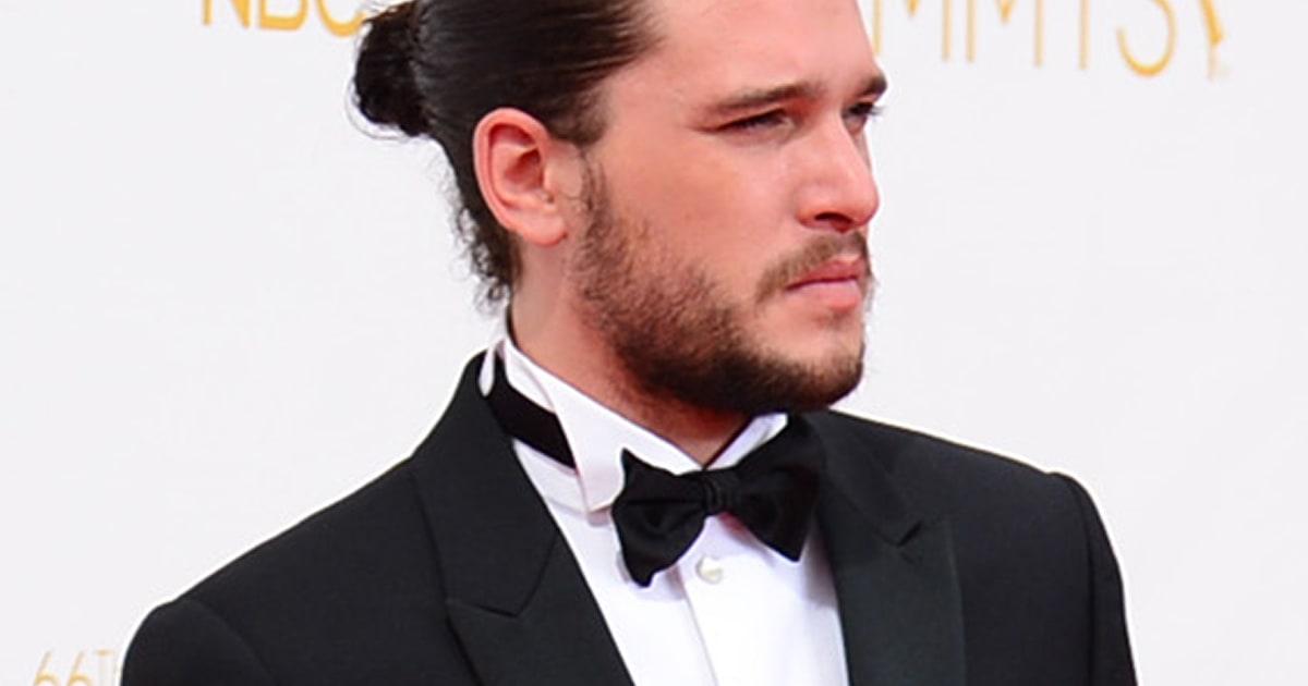 Emmys 2014 Kit Harington Rocks Man Bun On The Red Carpet