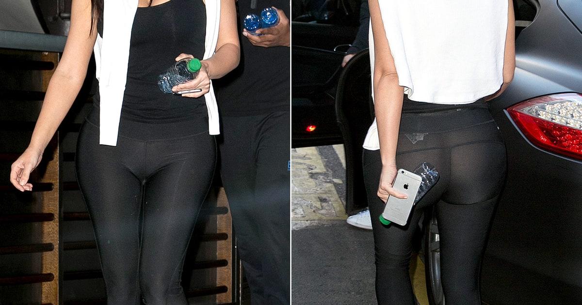 kim kardashian flashes butt in seethrough leggings