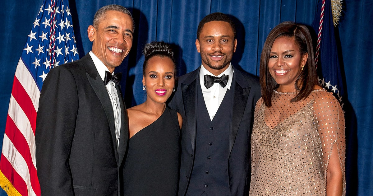 pregnant kerry washington hubby beam alongside the obamas