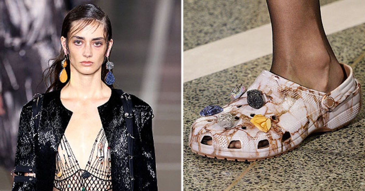 high fashion crocs make their debut at london fashion week us weekly. Black Bedroom Furniture Sets. Home Design Ideas