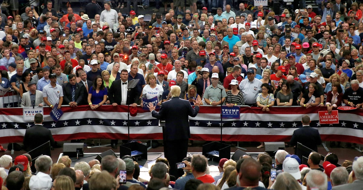 Image result for donald trump and white workers crowd