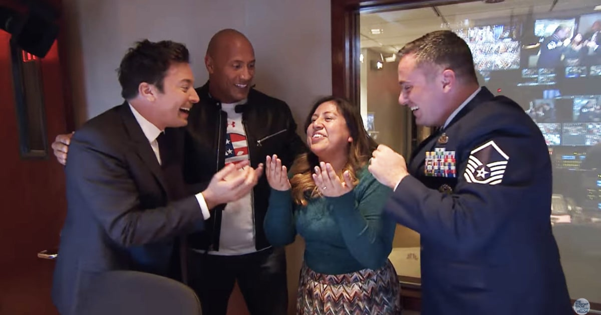 Jimmy Fallon Tears Up as Dwayne Johnson Reunites Military Couple