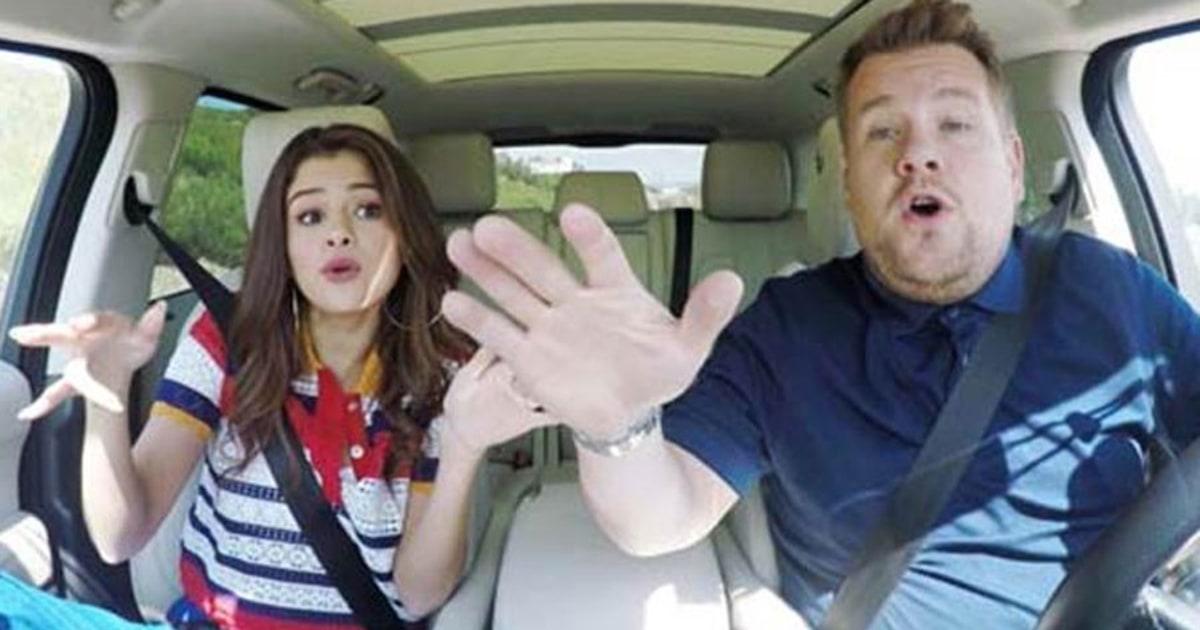 Selena gomez does carpool karaoke with james corden watch for Car pool karaoke show