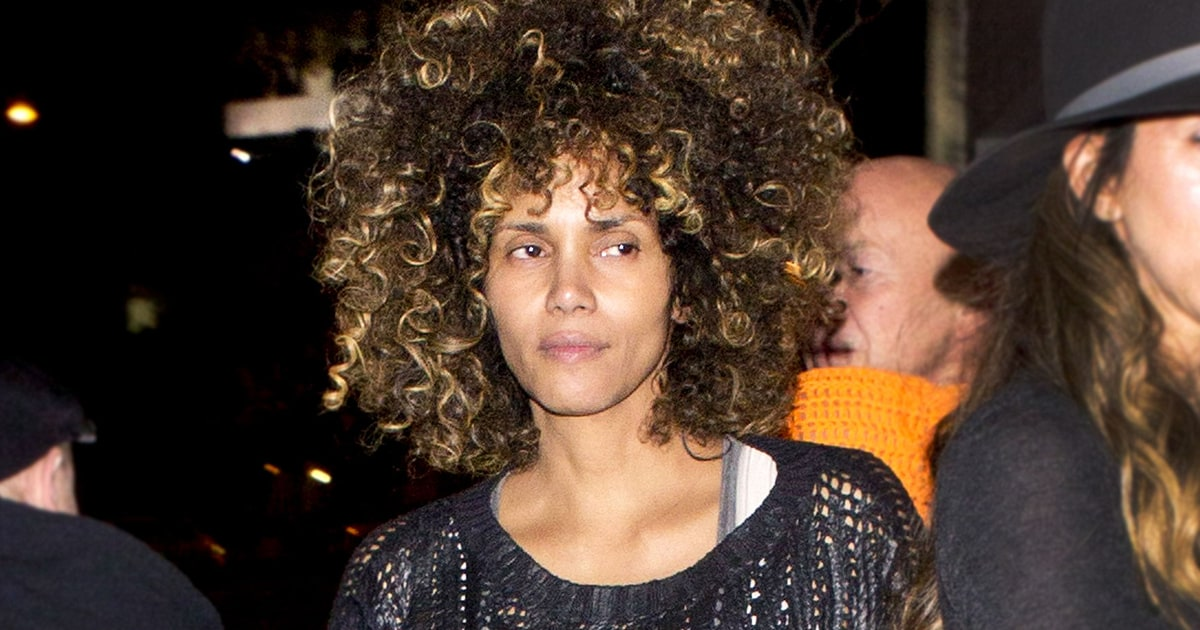 Halle Berry Wears Curly Wig, No Makeup: Pics - Us Weekly