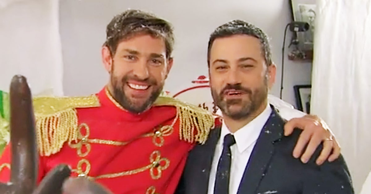 john krasinski jimmy kimmel escalate their epic christmas