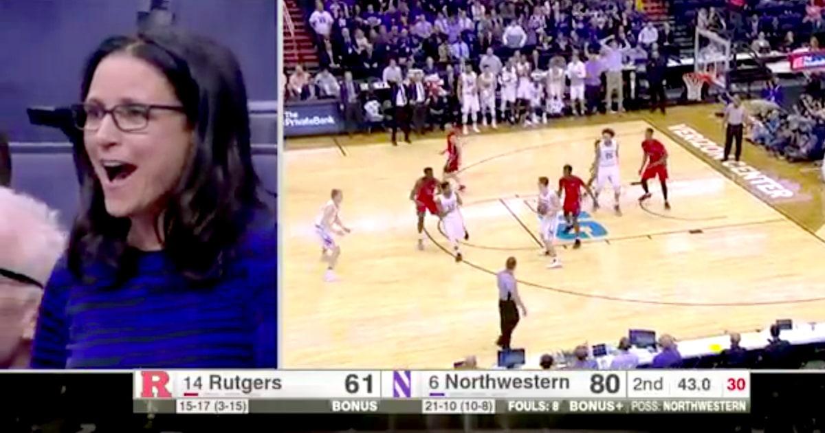 Julia Louis-Dreyfus Cheers on Son at Northwestern Basketball Game