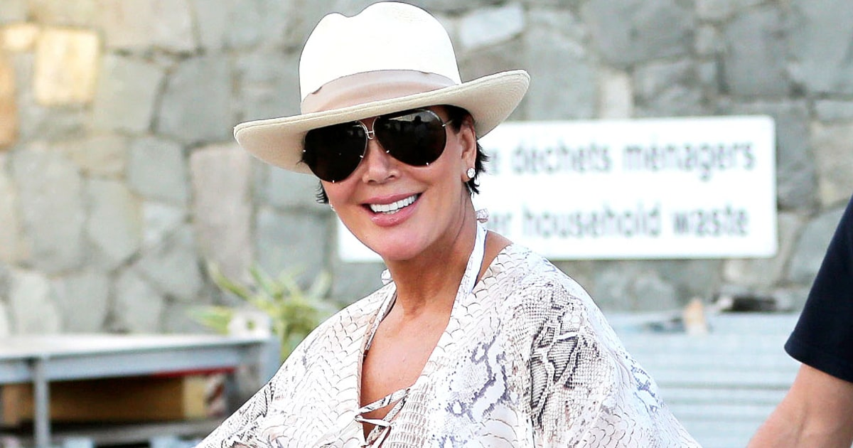 Kris Jenner Wears Snakeskin, Blue Wig in St. Bart's ...