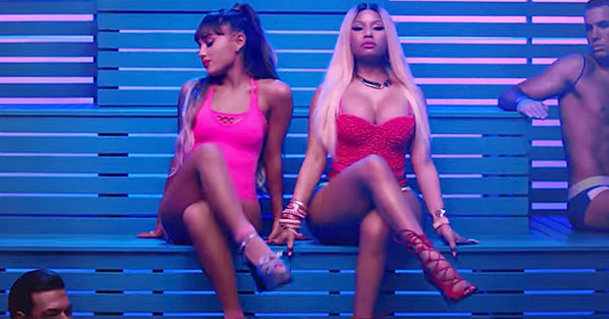 Brilliant Watch Ariana Grande Nicki Minaj In Steamy New Video Rolling Stone Short Hairstyles Gunalazisus