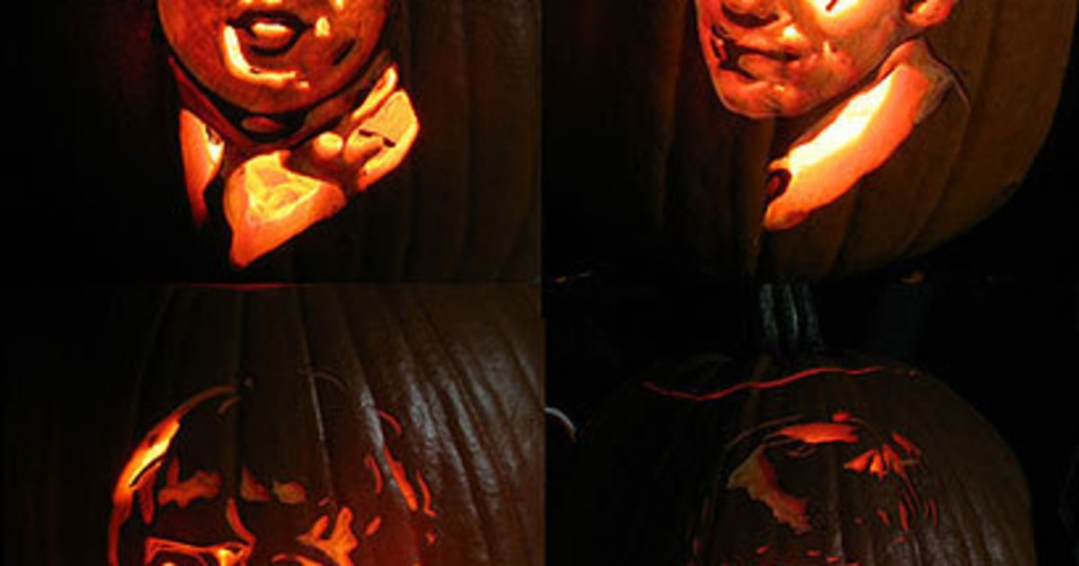 The beatles photos pumpkins carved to look like rock