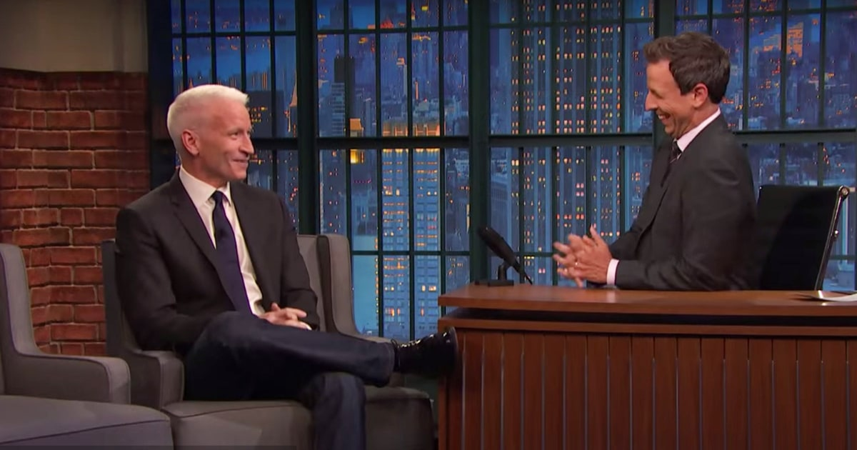 Watch Seth Meyers Anderson Cooper Laugh About Pissing Off