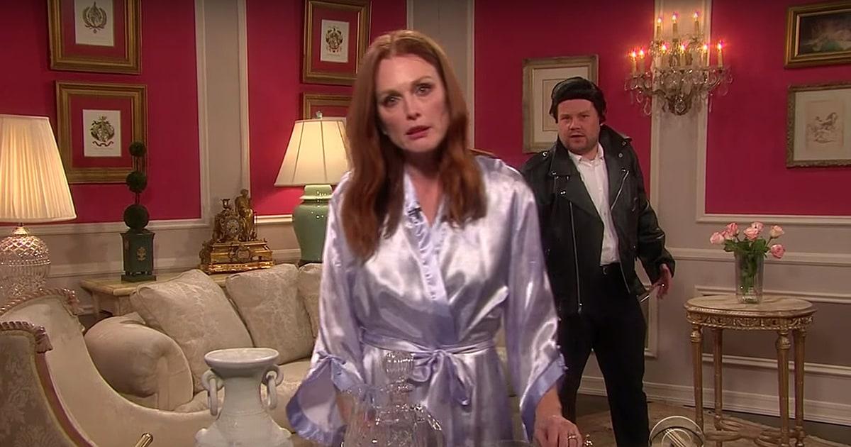 Julianne moore john stamos act in taylor swift soap opera on corden