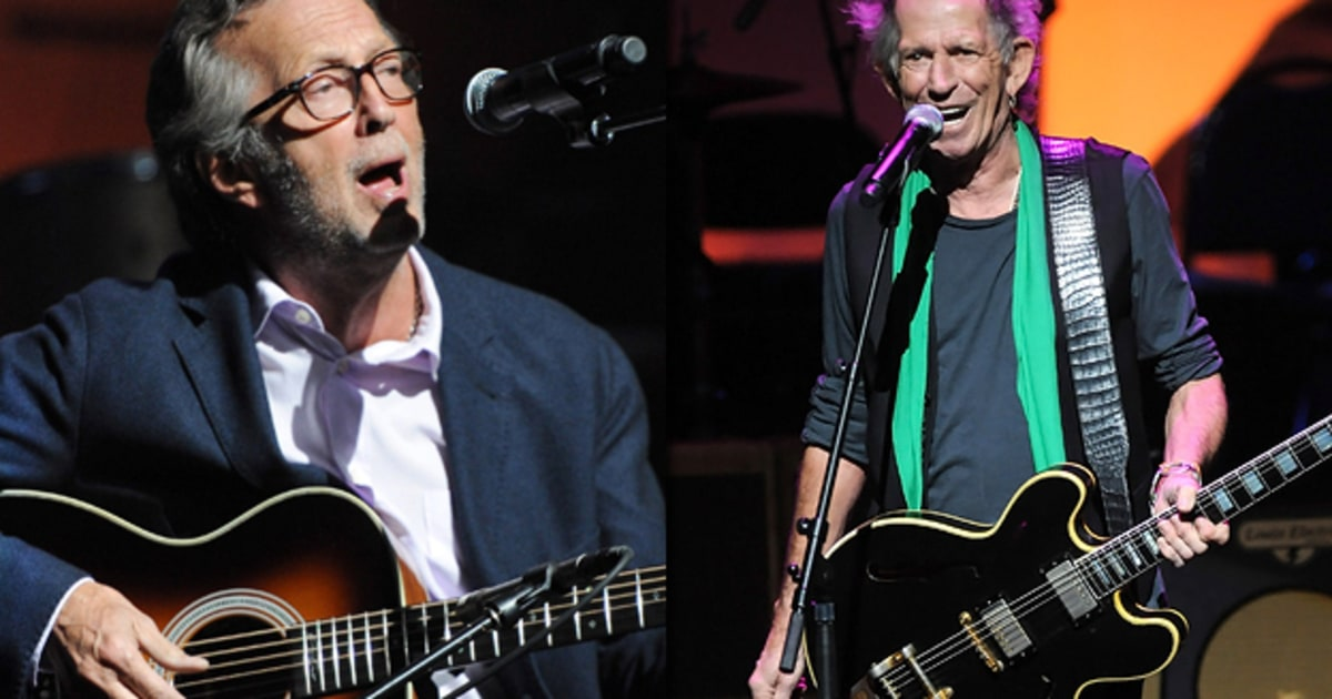 Keith Richards and Eric Clapton perform at a tribute for ...