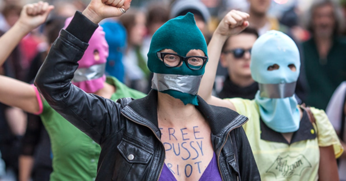 pussy riot Four members of the russian punk protest band pussy riot have been charged  after they disrupted the world cup final by running onto the.