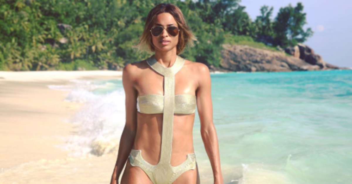 ciara models sexy swimsuits to celebrate engagement  shop