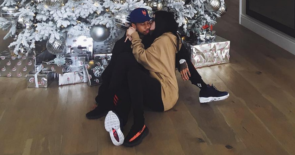 Kylie Jenner Kisses Tyga In Front Of Christmas Tree In