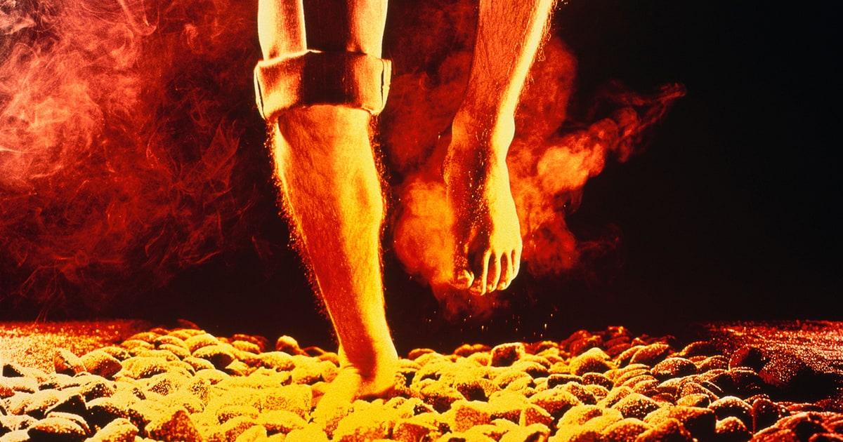 Dozens Burned Their Feet Walking On Hot Coals At Tony