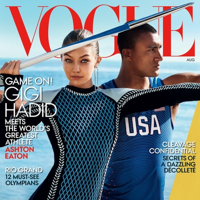 Gigi Hadid Lands Her First 'Vogue' Cover Alongside Olympian Ashton Eaton