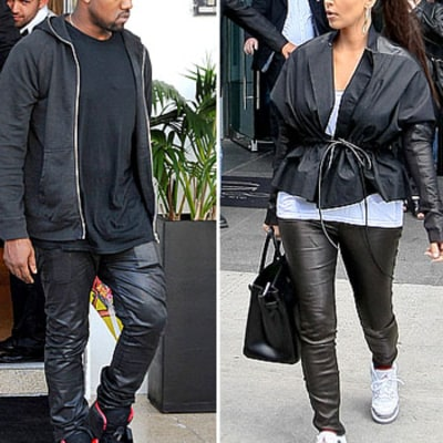 Kim Kardashian Dresses Like Kanye West in Air Jordans, Leather Pants