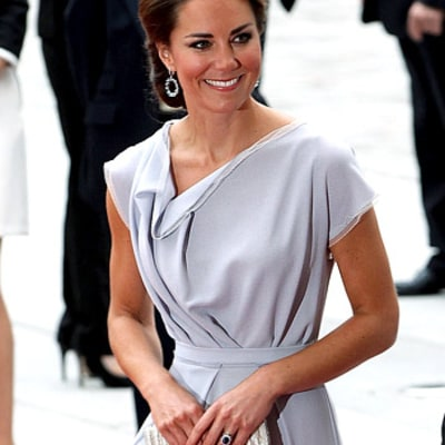 PIC: Kate Middleton Recycles Dove Grey Dress, Wears Hair Up for Creative Industries Reception