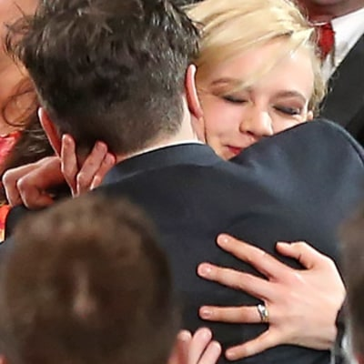 Carey Mulligan Wipes Away a Tear When Husband Marcus Mumford Wins Album of the Year at 2013 Grammys